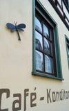 在墙壁上的蜻蜓在奇怪的窗口附近 免版税图库摄影
