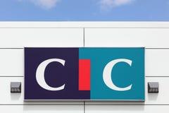 在墙壁上的CIC商标 库存图片
