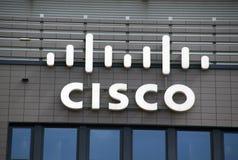在墙壁上的Cisco信件 免版税库存照片
