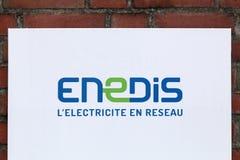 在墙壁上的Enedis商标 免版税库存照片