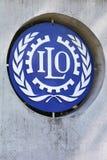 在墙壁上的ILO标志 库存图片