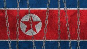 在墙壁上绘的北朝鲜的旗子 免版税库存图片