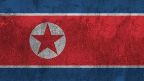 在墙壁上绘的北朝鲜的旗子 免版税图库摄影