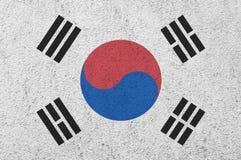 在墙壁上绘的韩国旗子 免版税库存照片