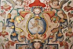 在墙壁上绘的马赛克 库存图片