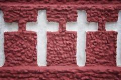 在墙壁上雕刻的圣洁十字架 免版税图库摄影