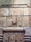 在墙壁上雕刻的大英博物馆- Soth阿拉伯细节 库存图片