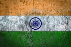 在墙壁上绘的印度旗子 库存图片