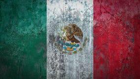 在墙壁上绘的墨西哥旗子 免版税图库摄影