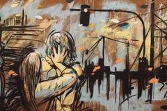 亲吻,在罗马的墙壁上的街道画 库存照片