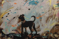 狗,在罗马的墙壁上的街道画 免版税库存图片