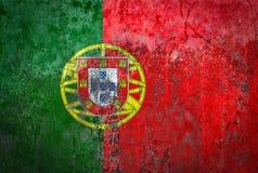 在墙壁上绘的葡萄牙旗子 库存照片
