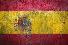 在墙壁上绘的西班牙旗子 免版税库存图片