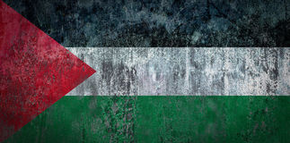 在墙壁上绘的巴勒斯坦旗子 免版税图库摄影