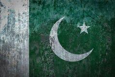 在墙壁上绘的巴基斯坦旗子 库存图片