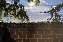 在墙壁和Barbwire,卢萨卡,赞比亚上的玻璃碎片 免版税图库摄影