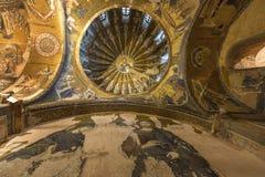 在墙壁和Chora教会的圆顶上的马赛克在伊斯坦布尔,土耳其 免版税库存图片