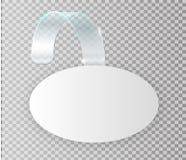 在墙壁嘲笑的空白的白色晃摇物吊,3d翻译 间隔围绕在塑料透明小条的纸大模型 结算 向量例证