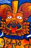 在墙壁墨西哥城上的阿兹台克绘画 免版税库存图片