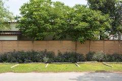 在墙壁旁边的空的停车场 图库摄影