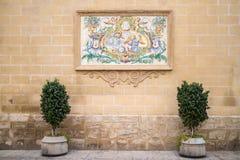 在墙壁瓦片的绘画在街道在巴伦西亚 免版税库存图片