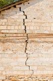 在墙壁的一个大裂缝 免版税库存图片