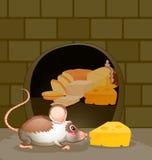 在墙壁的一个孔用面包和乳酪 免版税库存照片
