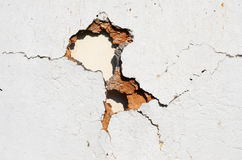 在墙壁的孔 免版税库存照片
