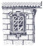 在墙壁视窗附近的美丽的砖边缘ho 免版税图库摄影