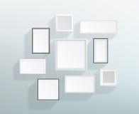 在墙壁设计的传染媒介空白的白色现实框架 库存图片