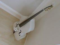 在墙壁附近的唯一大提琴 图库摄影