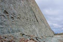 在墙壁,苏克雷,玻利维亚上的恐龙轨道 免版税库存照片