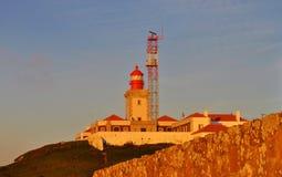 在墙壁-海角Roca后的灯塔 免版税库存图片