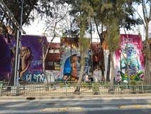 在墨西哥城街道上的街道画  免版税库存照片