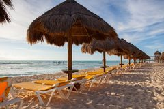 在墨西哥的加勒比海的Playa Paraiso 库存照片