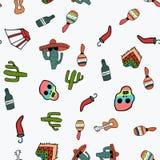 在墨西哥题材的无缝的样式在乱画样式 向量例证