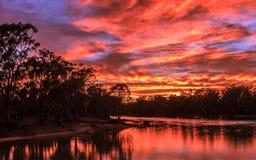 在墨累河的日出 库存照片