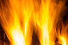 在壁炉关闭的灼烧的木柴 免版税库存照片