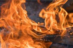 在壁炉特写镜头的红色黄色火 火焰 查出的背景黑色火 所选的重点 库存照片