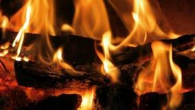 在壁炉的火焰 股票视频