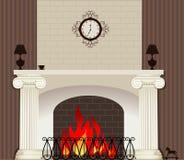 在壁炉的火 库存图片