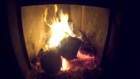 在壁炉的灼烧的火 在熔炉和裂缝的木柴烧伤 股票录像