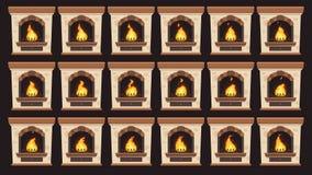 在壁炉的生气蓬勃的火 在减速火箭的家庭木灼烧的壁炉被设置的被隔绝的传染媒介动画片框架的火焰动画 皇族释放例证