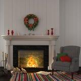 在壁炉附近的葡萄酒灰色扶手椅子与圣诞节装饰 免版税图库摄影