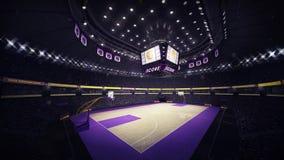 在壁角看法的篮球场 图库摄影