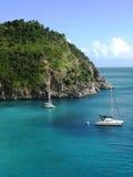 在壳海滩,圣Barts,法属西印度群岛的地区看法 免版税图库摄影