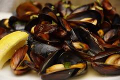 在壳的地中海淡菜煮沸用在板材的酒 库存图片