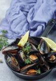 在壳的淡菜用柠檬、大蒜和麝香草 可口M 库存图片