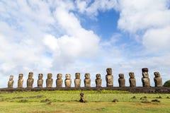 在复活节岛的Ahu Tongariki 库存图片
