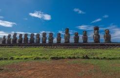 在复活节岛的Moai雕象Tongariki的 免版税库存照片